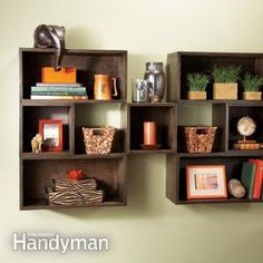 Box shelves are inexpensive, easy to make and highly versatile. Make the combination of sizes and depths you need for any room, from the living room to the laundry.