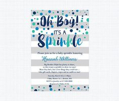Baby Sprinkle Invitation Boy Blue Watercolor Stripes Blue Teal
