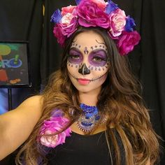 Cool Happy Halloween 2016 Thank you of my makeup and po Halloween Makeup Looks, Halloween 2016, Happy Halloween, Halloween Ideas, Mexican Costume, Dead Makeup, Skeleton Makeup, Sugar Skull Makeup, Sugar Skull Costume