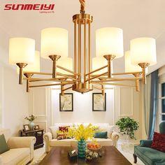 Günstige Amerikanischen Modernen FÜHRTE Kronleuchter Für Wohnzimmer  Esszimmer Lüster Para Quarto Alle Kupfer Vintage Kronleuchter Beleuchtung