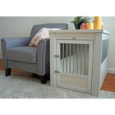 Dog Crate Furniture & End Tables Dog Crate End Table, Crate Decor, Dog Crate Furniture, Dog Rooms, White Dogs, Dog Houses, Pet Beds, Swagg, Design
