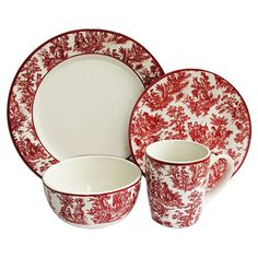 Porcelain dinnerware set with a red toile motif.    Product: 4 Dinner plates4 Salad plates4 Soup bowls