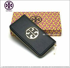 Newest Tory Burch Large Embossed Logo Leather Continental ZIP Around Wallet | eBay
