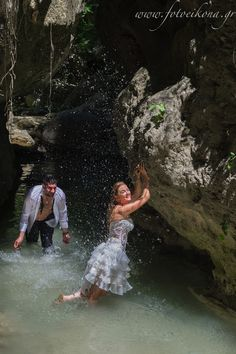 Lively couple & lovely wedding photos Waterfalls Nidri #Lefkas #Ionian #Greece #wedding #weddingdestination Eikona Lefkada Stavraka Kritikos