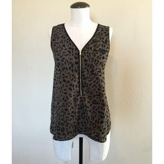 ✨SALE✨ Leopard Print (Green) Zip Blouse sz S Leopard Print (Olive Green) Front Zip Blouse sz S▪️It's pre-owned but in great condition.                        NO TRADES NO PAYPAL Apt. 9 Tops Blouses