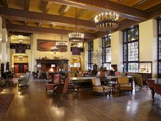 Trace the roots of luxury tourism in America's national parks with a stay at this Gilbert Stanley Underwood designed, Y-shaped lodge in the heart of Yosemite National Park (formerly the Ahwahnee Hotel). A National Historic Landmark, its fireplace has warmed the hands of Charlie Chaplin, Greta Garbo, Walt Disney, and Queen Elizabeth II, and, like the rest of the lodge, combines the region's Native American heritage with the Art Deco movement.