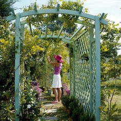 Free standing pergola arch w/ lattice panels on side (structural & decorative element).