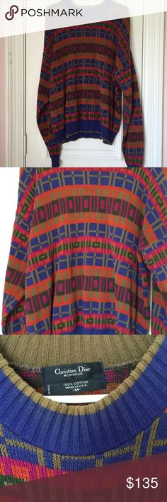 Vintage Christian Dior Multi Color Sweater Sz M Super rad sweater. Christian Dior size Medium. 100% cotton. Mens but could be worn as Women's .. To each it's own. Christian Dior Sweaters Crew & Scoop Necks