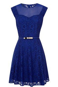 Savannah Lace Skater Dark Blue Dress
