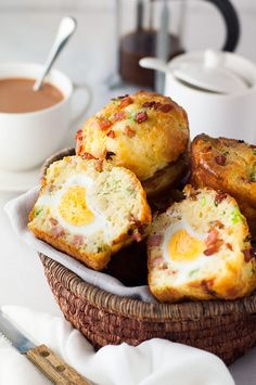 These savory Bacon + Egg Breakfast Muffins look AMAZING. More from my site 18 Egg Breakfast Recipes for A Great Morning Bacon & Egg Breakfast Muffins 9 Low Carb Breakfast Egg Cups Scrambled Egg Muffins Breakfast Easy Egg Breakfast, Grab And Go Breakfast, Breakfast Dishes, Breakfast Time, Breakfast Recipes, Breakfast Ideas, Bacon Breakfast, Breakfast Pictures, Breakfast Casserole
