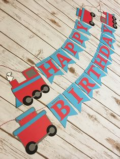 Train Happy Birthday Banner, Train Birthday Banner, Train Banner, Chugga Chugga Choo Choo, Train Birthday, Trains for Two, Boy Birthday by SavorEachSecond on Etsy https://www.etsy.com/listing/535292949/train-happy-birthday-banner-train