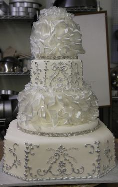 Silver with pulled sugar ruffles wedding cake good cake design for our 25th wedding anniversary next March 19