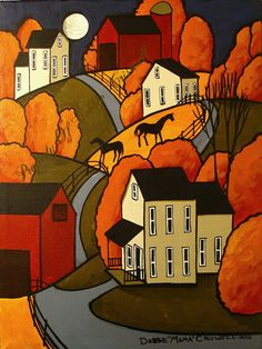 AVAILABLE ! One of a kind ORIGINAL PAINTING folk art landscape by folkartmama, $99.00