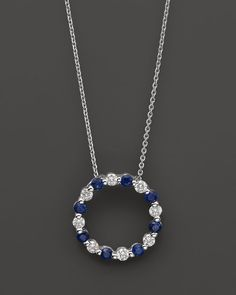 """Diamond and Sapphire Pendant Necklace in 14K White Gold, 18"""""""