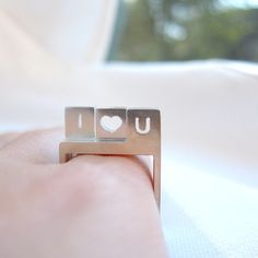 Perfect gift for those who love simplicity. Geometric jewellery.  I ♥ You Stacking Square Silver Ring – a unique product by smilingsilversmith via en.DaWanda.com #heart