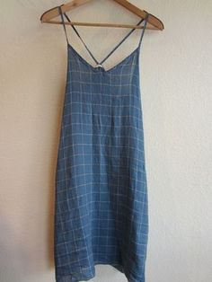 Cool blue linen windowpane checked dress  for hot weather.