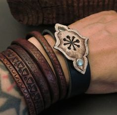 Tooled leather cuffs