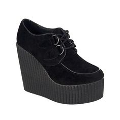 Black Vegan Suede Wedge Creepers Usually hate wedge heels but these are too cute.