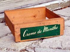 Wood Crate  Creme de Menthe Brand  by BluePawRelicsnResto on Etsy