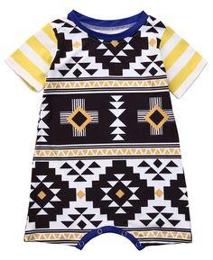 f45c66299fb Yellow Aztec Print Baby Boy Summer Romper