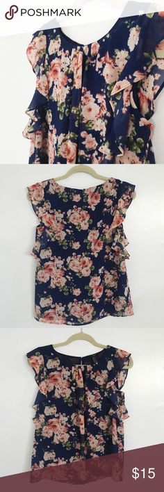 navy floral blouse offers welcome size small navy floral print blouse with ruffle sleeves. Forever 21 Tops Blouses