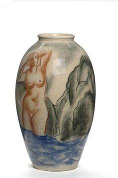 """Gérard Cochet (1888-1969) """"Sirènes,""""earthenware, 1925/30. Musée des Arts décoratifs, Paris."""