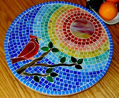 Stained glass mosaic Lazy Susan  © Nature Under Glass