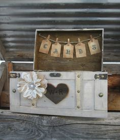 Personalized Rustic Trunk Card Holder Wedding Box Vintage Off White Gift Table Barn