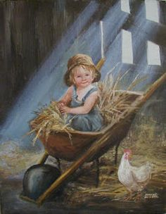 Farm boy in barn illustration by Dianne Dengel (American, 1939 -- Vintage Pictures, Art Pictures, Photos, Illustration Inspiration, Illustration Art, Photo Humour, Vintage Artwork, Country Art, Art Themes