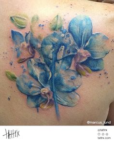 Marcus Lund Tattoo - Blue Orchids  http://tattrx.com/artists/marcus-lund