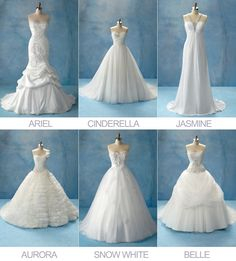 Disney Princesses Wedding Dress Collection by Alfreda Angelo Love the Belle one....really don't like the Ariel or Aurora though