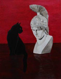Cat and Bust Art Print Robert Harris, Figurative Art, Fine Art Paper, Saatchi Art, Batman, Superhero, Art Prints, Canvas, Gallery