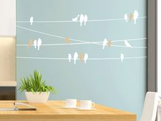 Wall decals power lines with birds WANDTATTOO.DE Like the chickens on the perch, the birds wall stickers sit on the wire. Wall Art Designs, Paint Designs, Wall Design, Bird Wall Decals, Wall Stickers, Wall Paint Patterns, Diy Wall Painting, Wall Tattoo, Home Room Design