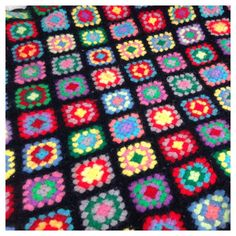 Vintage Crocheted Granny Square Afghan Blanket-Felted Wool