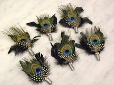 Peacock feather boutonniere by ChloeAnnDesigns on Etsy, $10.00