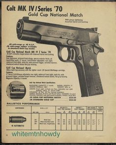 1975 COLT MK IV Series 70 Gold Cup National Match Pistol PRINT AD Advertising #SmithWesson