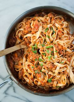 Fettuccine Turkey Bolognese. A comforting pasta dish that makes a great dinner, and even better leftovers!