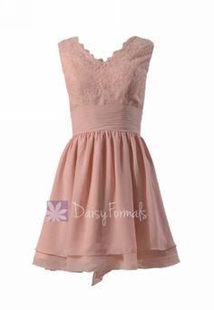 Amazing short lace bridesmaid dress linen v-neck discount formal dress w/flowing layers(bm29035)