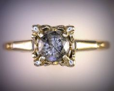 1940's Round Diamond Ring 14kt Gold Square by MonCoeurfinejewelry, $1500.00