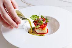 Hake, Marinated Tomato and Crab Recipe - Great British Chefs Crab Recipes, Gourmet Recipes, Marinated Tomatoes, Great British Chefs, Seafood Appetizers, Crab Meat, White Meat, Fish And Seafood, Food Plating