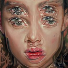 Gorgeously Surreal Portraits Painted to Resemble Double Vision - Malerei - Alex Garant {contemporary surrealism art beautiful female head multi-exposure blurred vision woman - Psychedelic Art, Alex Garant, Distortion Art, L'art Du Portrait, A Level Art, Ap Art, Gcse Art, Amazing Art, Art Drawings