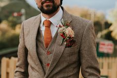 Autumn groom outfit with rust orange tie and tweed waistcoat and jacket groom wedding suits groom wedding suits men suspenders groom style best ideas wedding Fall Wedding Suits, Vintage Wedding Suits, Tweed Wedding Suits, Tweed Suits, Brown Suit Wedding, Fall Wedding Groomsmen, Brown Tweed Suit, Tuxedo Wedding, Autumn Wedding
