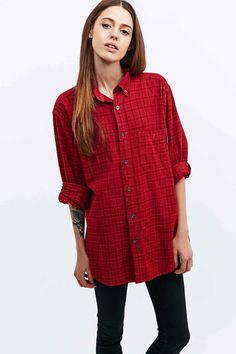 Urban Renewal Vintage Customised Overdyed Plaid Shirt in Red