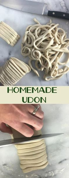 Fresh homemade udon noodles are surprisingly easy to make – you only need 4 ingredients! Eat the right away or freeze them for an easy weeknight option. ~ https://www.healthy-delicious.com