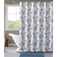 Vcny Home Multi-Color Jasmine Floral 14-Piece Bath Set, Shower Curtain Hooks and Bath Rug Included, Blue