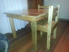Nice Children's Table & Chairs #kids #palletchair #pallettable #recyclingwoodpallets Used Anna White plan as a guide to make this table and two chairs for my children's. ...