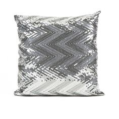 Estradin Silver Sequin Chevron Pillow - Strikingly bold, this silver sequin chevron pillow adds shimmering brilliance and pattern to any modern glam or sophisticated space. Enquire for price.