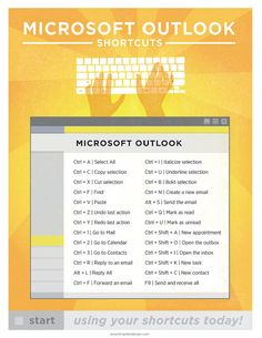 "Microsoft Outlook Keyboard Shortcut Printable Poster 8.5""x11"" 