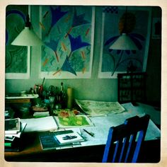 My desk - sketches, drawings, pens, pencils, books, magazins