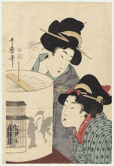 Beauties Watching a Revolving Lantern, Utamaro 1750 - 1806 Two beauties watching a revolving lantern optical toy. A silhouette of a geisha playing a shamisen and a dancing cat wearing tall geta sandals and carrying an umbrella appear on the side of the paper shade. To the left of the silhouettes, a man looks through the barred windows of a teahouse, holding a fan to his face.